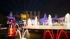 BARCELONA, SPAIN, Magic fountains on Montjuic night view. Stock Footage