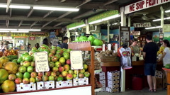 Buyers in the 'Robert Is Here' Fruit Stand. Homestead Stock Footage
