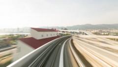 POV monorail hyperlapse ride through Kobe Stock Footage