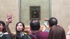 Selfi with the Mona Lisa Stock Footage