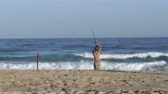 Tavira Island Ocean coast View and Fisherman, Algarve. Stock Footage