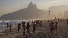 Slow Motion - People Playing Ball at Ipanema Beach, Rio de Janeiro, Brazil Stock Footage