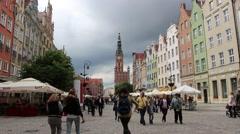 Long market in Gdansk, Poland Stock Footage
