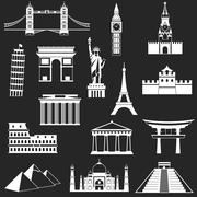Stock Illustration of World famous buildings abstract silhouettes