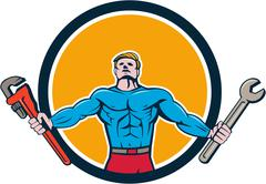 Superhero Handyman Spanner Wrench Circle Cartoon Stock Illustration