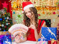 Girl with a Fan Christmas gift certificates - stock photo