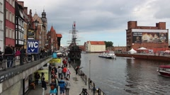 Motlawa river in Gdansk, Poland. Old town Stock Footage