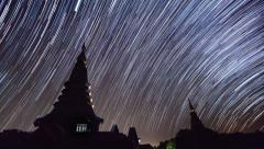Star Trails Over Pagoda Of Doi Inthanon Chiang Mai, Thailand (pan shot) Stock Footage
