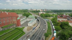 Warsaw, Poland. View on Busy Warsaw street and Vistula river. Timelapse Stock Footage