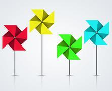 Vector modern colorful windmill set - stock illustration