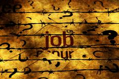 Job and question marks against barbwire Stock Photos