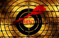 Rent target concept against barbwire Stock Photos