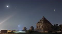 Candi Ijo, Moon, Venus, Jupiter conjunction night timelapse Stock Footage