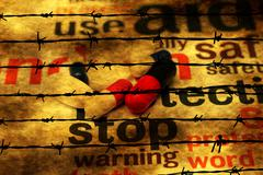 Stop using pills concept against barbwire Stock Photos