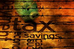 Piggy bank and tax concept against barbwire Stock Photos