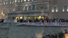 Protest demonstration against austerity Greece Stock Footage