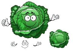 Cartoon crunchy fresh head of cabbage vegetable character - stock illustration