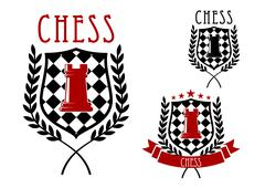 Chess emblems with rook on chessboard shield - stock illustration