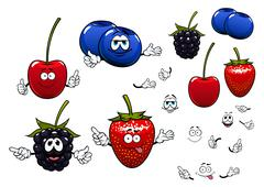 Cartoon summer strawberry, blackberry, cherry and blueberries fruits characte - stock illustration