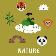 Nature and wildlife China flat icons Piirros