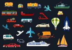 Transportation flat icons with road, water, rail, air transport Piirros