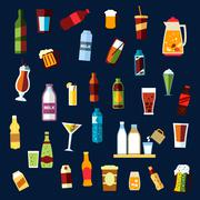 Beverages flat background with drinks icons Piirros