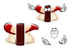 Cartoon hokkigai nigiri sushi with surf clam - stock illustration