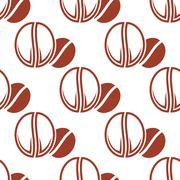 Roasted coffee beans retro seamless pattern - stock illustration