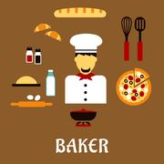 Baker with baking and ingredients. Profession flat concept Stock Illustration