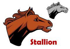 Profile of stallion or horse head - stock illustration