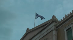 Protest demonstration against austerity Greece & Greek flag Stock Footage
