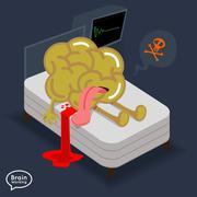 Brain dead on the bed Stock Illustration