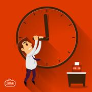 Businessman working late - stock illustration