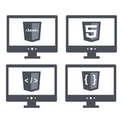 Illustration set with shield html five tag and brackets sign on the screen Stock Illustration