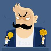 Angry boss action - stock illustration