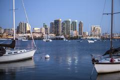 Evening light over San Diego Bay - stock photo