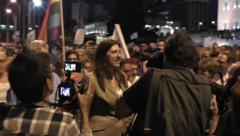 Greek parliament president with protesters Stock Footage