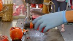 Fresh pomegranate juice Stock Footage