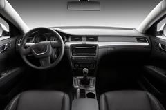 View of the interior of a modern automobile Stock Photos