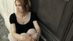 sad and depressed woman: sorrowful woman, thoughtful woman lost in her problems - stock footage
