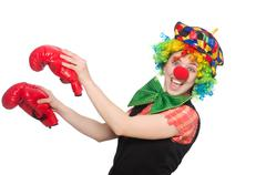 Stock Photo of Female clown with box gloves  isolated on white