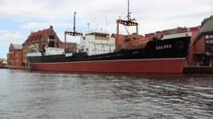 Soldek museum ship in Gdansk, Poland 2 Stock Footage