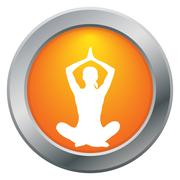 Yoga Lotus Pose Orange Icon - stock illustration
