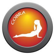 Yoga Cobra Pose Red Icon - stock illustration
