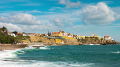 4K timelapse of Estoril coastline  near Lisbon in Portugal - UHD Stock Footage