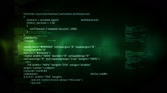 Stock Video Footage of Computer Code Scrolling Green