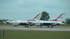US Air Force F-16 Thunderbirds jet demonstration team preflight Stock Footage