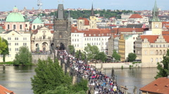 Bridges of Prague, this is the famous Charles Bridge over the River Vitava Stock Footage