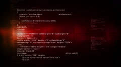 Computer Code Scrolling Red Stock Footage