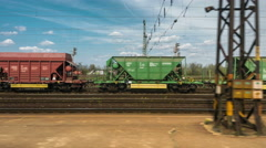 Cargo trains in old train depot Stock Footage